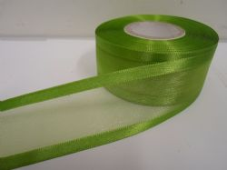 Leaf bright Green satin edged organza ribbon, 2 or 25 metres, Double sided, 10mm, 15mm, 25mm, 40mm, 70mm